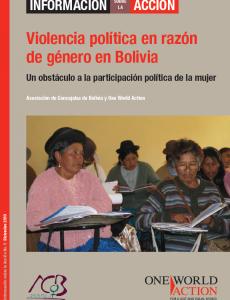 Portada Violencia política en razón de género en Bolivia. Un obstáculo a la participación política de la mujer