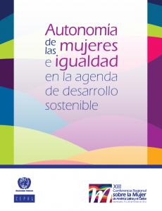 Portada Autonomía de las mujeres e igualdad en la agenda de desarrollo sostenible