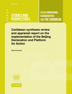 Portada Caribbean synthesis review and appraisal report on the implementation of the Beijing Declaration and Platform for Action