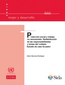 Portada Protección social y trabajo no remunerado: redistribución de las responsabilidades y tareas del cuidado. Estudio de caso Ecuador
