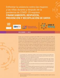 Enfrentar la violencia contra las mujeres y las niñas durante y después de la pandemia de COVID-19 requiere FINANCIAMIENTO, RESPUESTA, PREVENCIÓN Y RECOPILACIÓN DE DATOS