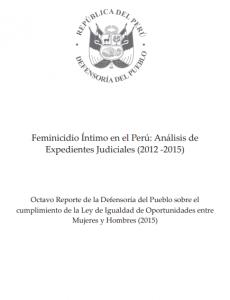 Portada Feminicidio Íntimo en el Perú: Análisis de Expedientes Judiciales (2012 -2015)