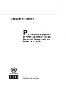 Portada Tercera consulta de opinión. Paridad política de género en América Latina