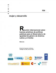 Portada memoria de Reunión internacional sobre buenas prácticas de políticas públicas para el Observatorio de Igualdad de Género en América Latina y el Caribe