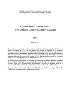 Portada egunda consulta de opinión de líderes de América Latina sobre la participación política de las mujeres y la paridad