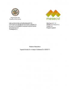 Portada Relatório Hemisférico  Segunda Rodada De Avaliação Multilateral Do MESECVI