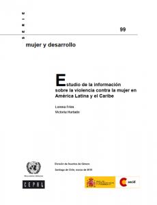Portada Estudio de la información sobre la violencia contra la mujer en América Latina y el Caribe