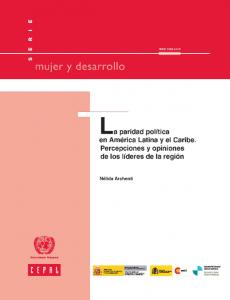 Portada La paridad política en América Latina y el Caribe: percepciones y opiniones de los líderes de la región