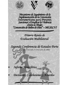 Portada Primer informe hemisférico del Mecanismo de Seguimiento de la Convención de Belém do Pará