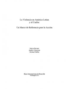 Portada La violencia en América Latina y el Caribe: Un marco de referencia para la acción