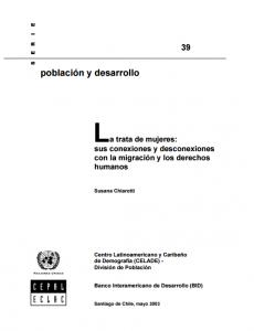 Portada La trata de mujeres: sus conexiones y desconexiones con la migración y los derechos humanos