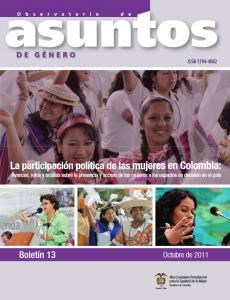 Portada Boletín No. 13 Observatorio de Asuntos de Género OAC, Colombia